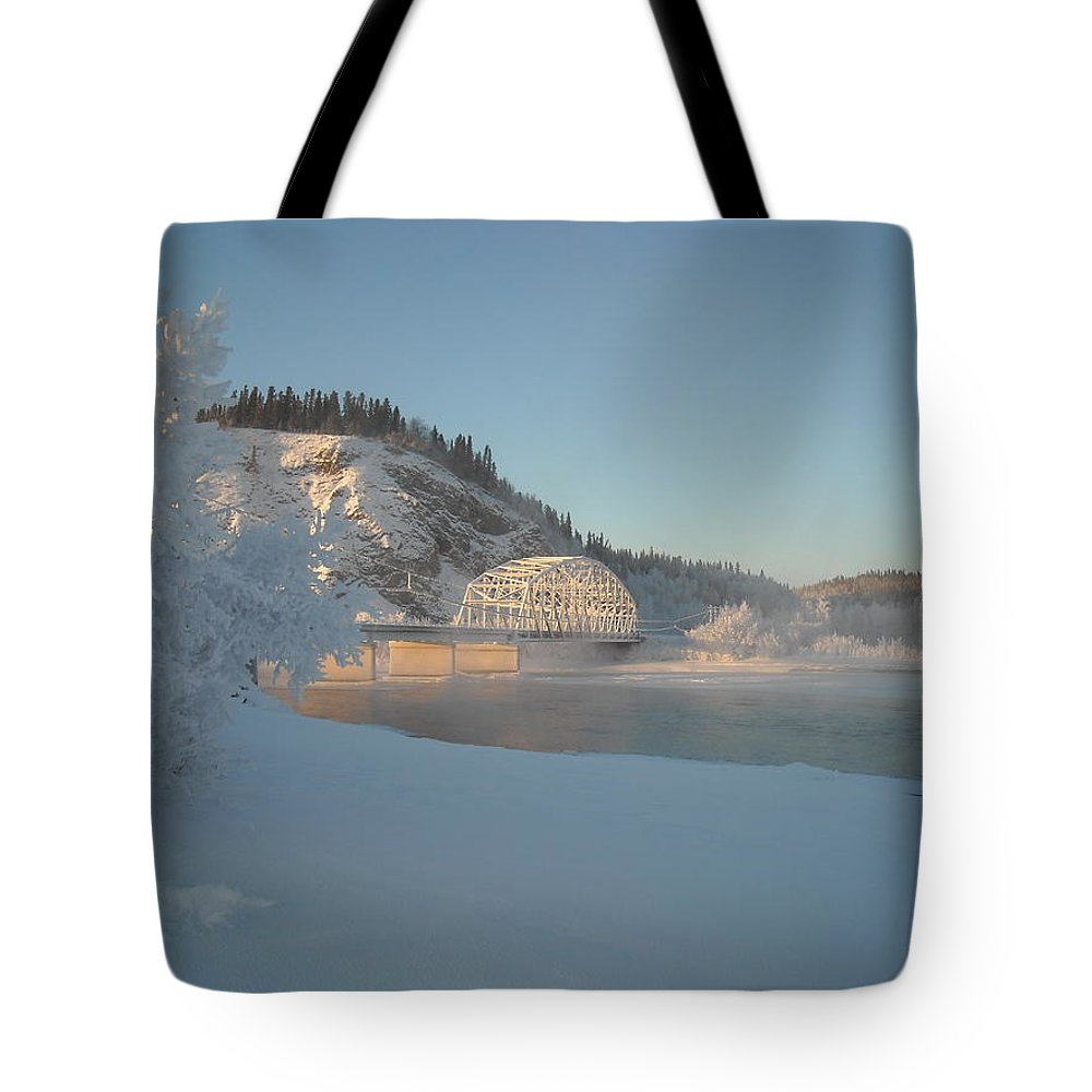 Delta Junction Tote Bag featuring the photograph The Bridge At Big Delta 2 by Cathy Mahnke