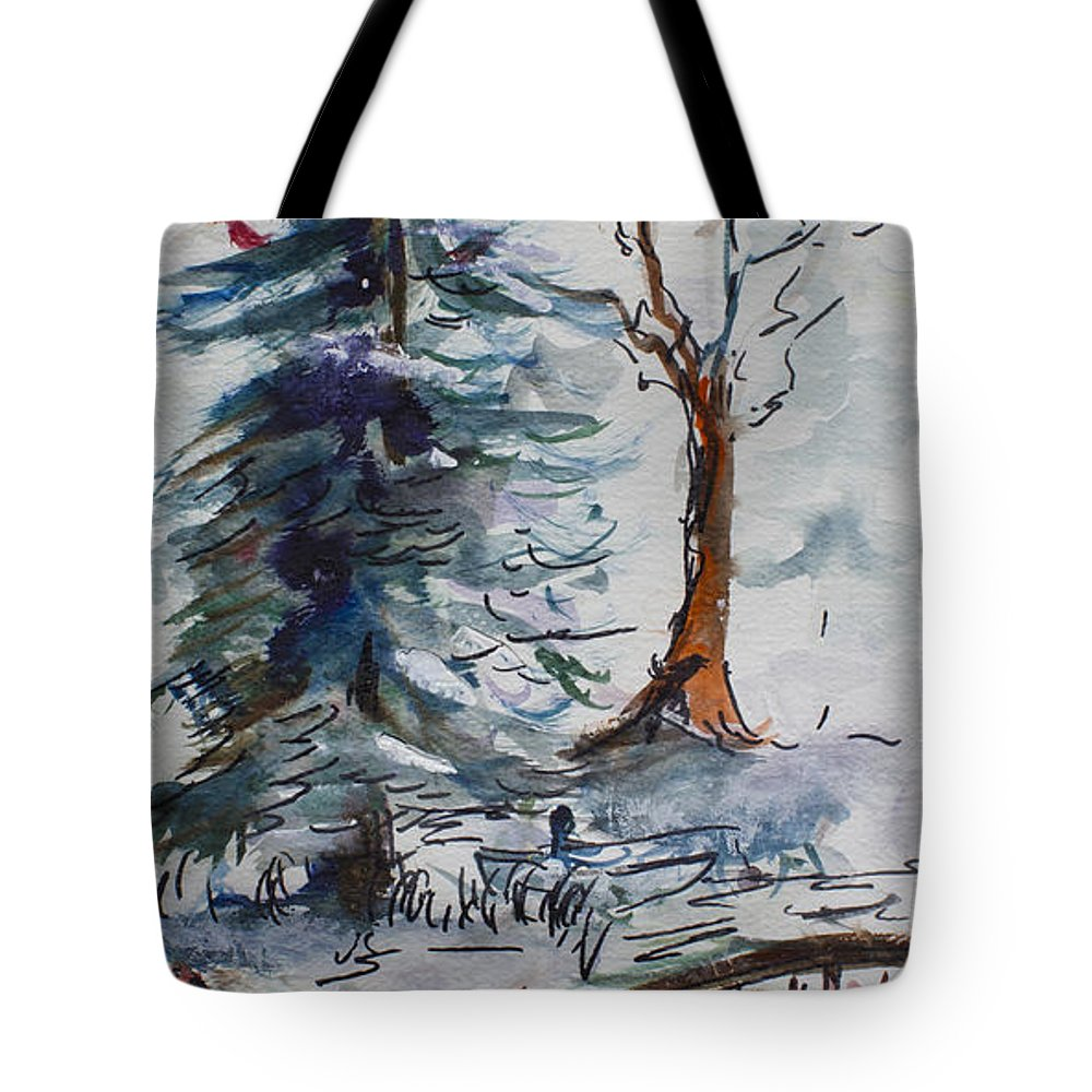 Winter Tote Bag featuring the painting The Bridge by Avonelle Kelsey
