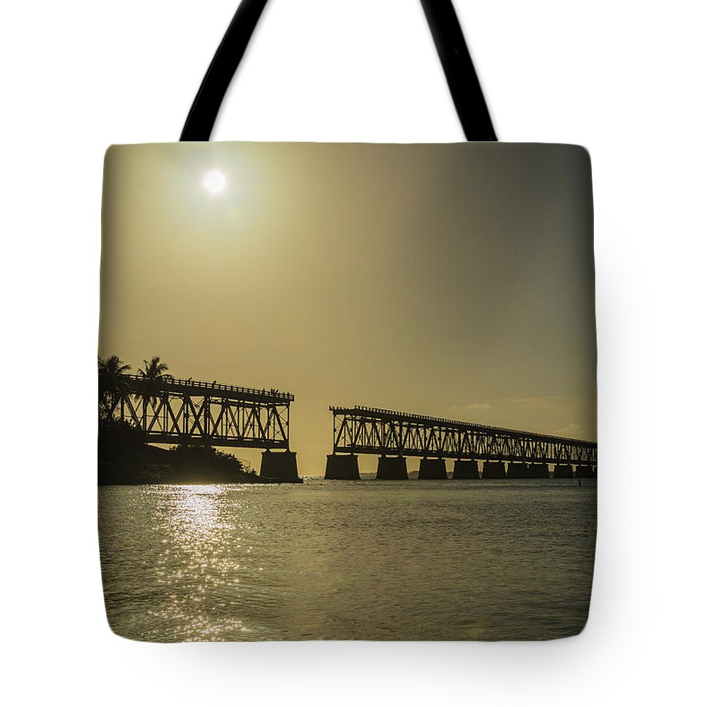 Florida Tote Bag featuring the photograph The Bridge by Kristopher Schoenleber
