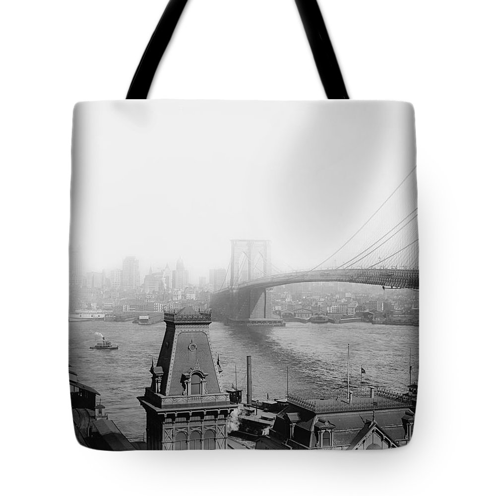 The Brooklyn Bridge 1902 Tote Bag featuring the photograph The Brooklyn Bridge 1902 by Bill Cannon