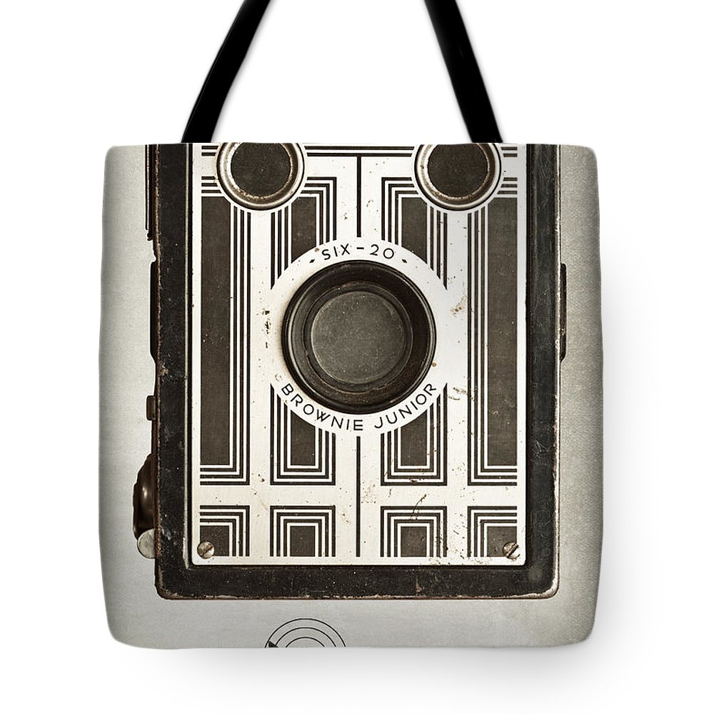 Antique Tote Bag featuring the photograph The Brownie Junior Six-20 Camera by Tom Mc Nemar