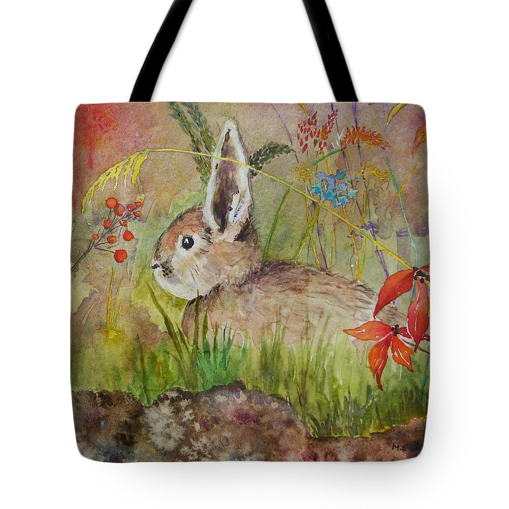 Nature Tote Bag featuring the painting The Bunny by Mary Ellen Mueller Legault