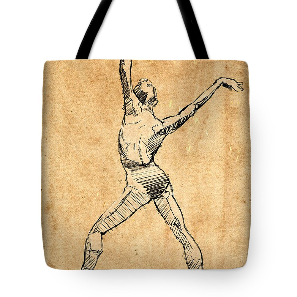 Ballet Tote Bag featuring the drawing The Button by H James Hoff