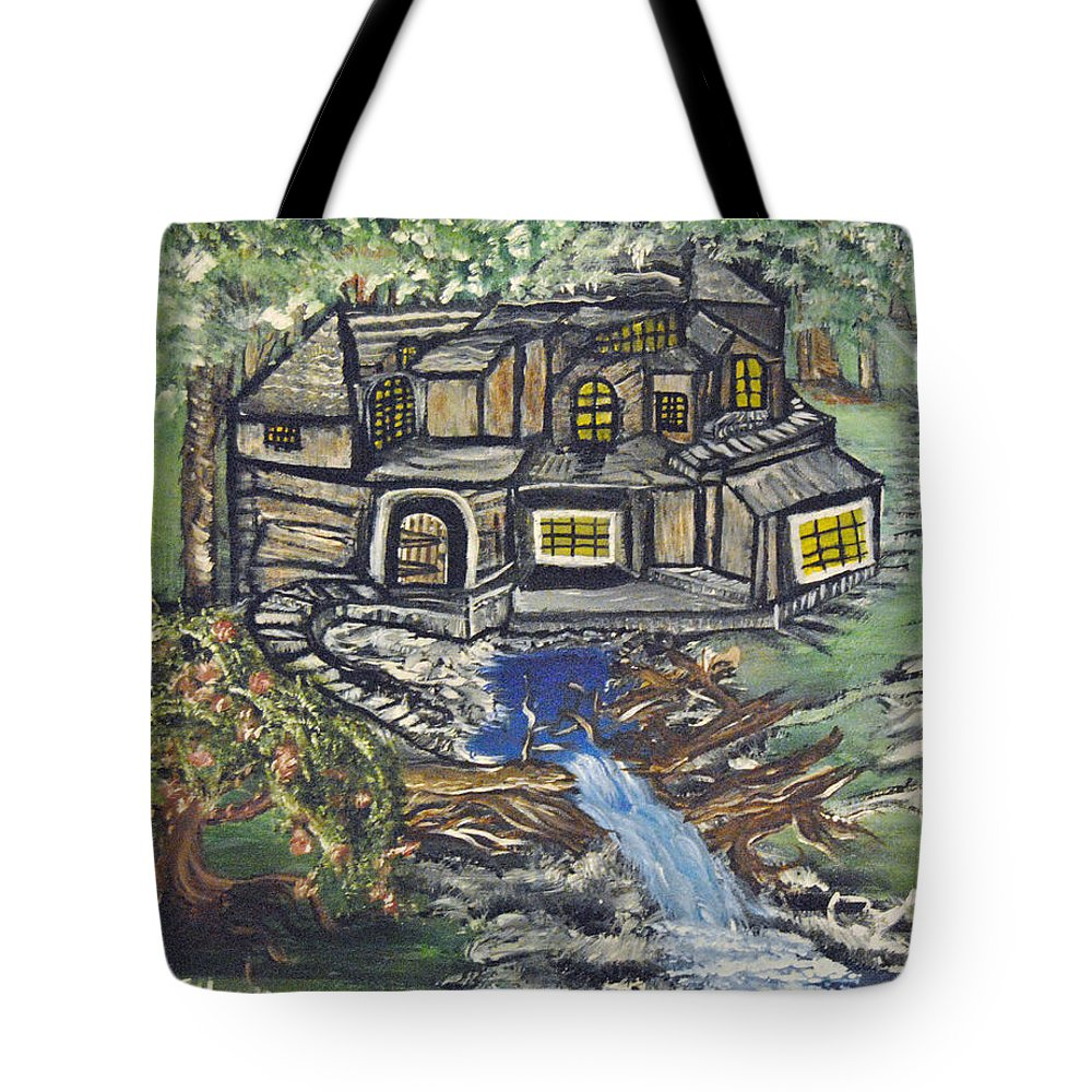 Cabin Tote Bag featuring the painting The Cabin by Suzanne Surber