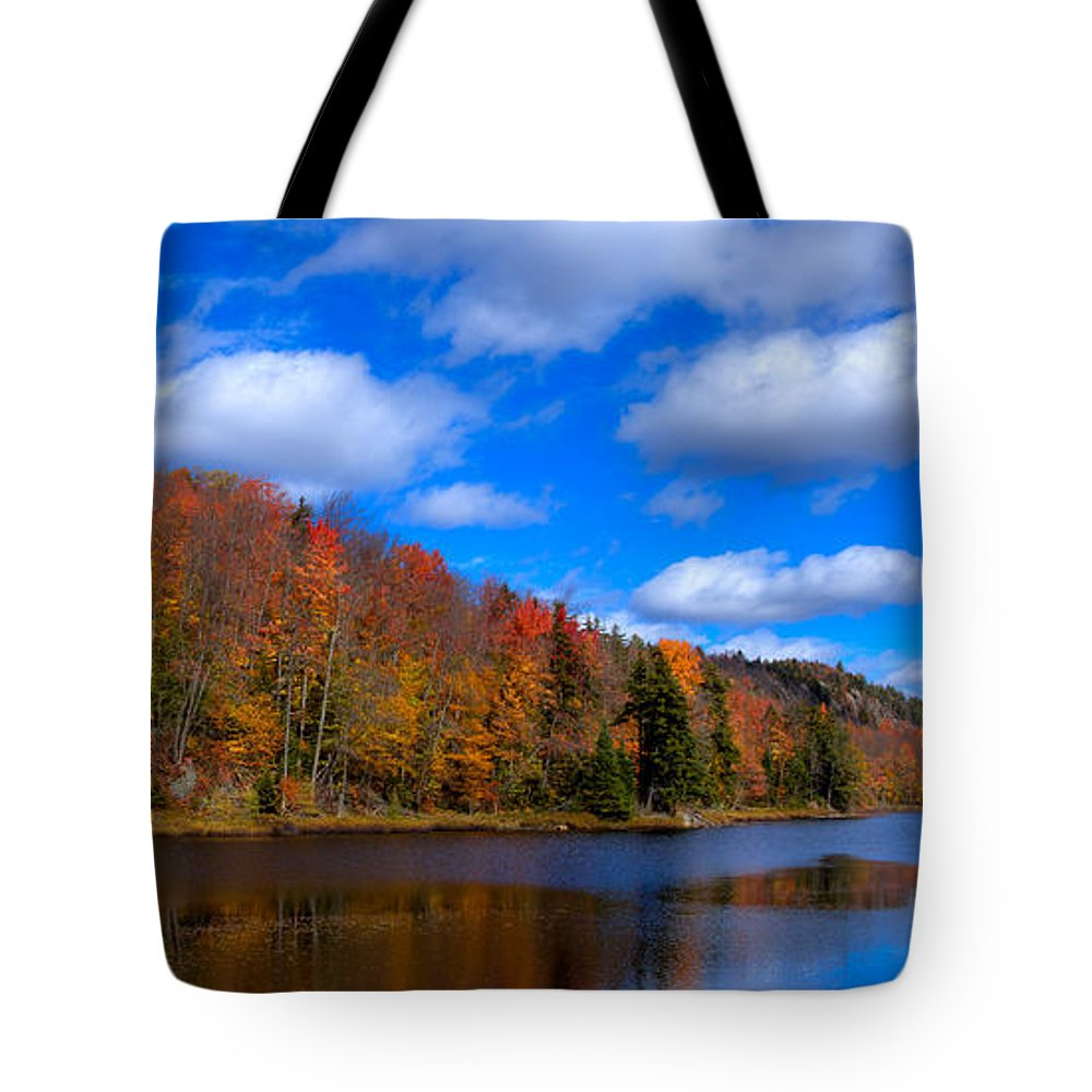 Adirondack's Tote Bag featuring the photograph The Calm Of Autumn At Bald Mountain Pond by David Patterson