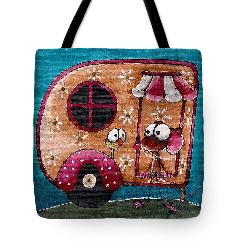 Whimsical Tote Bag featuring the painting The Camper Van by Lucia Stewart