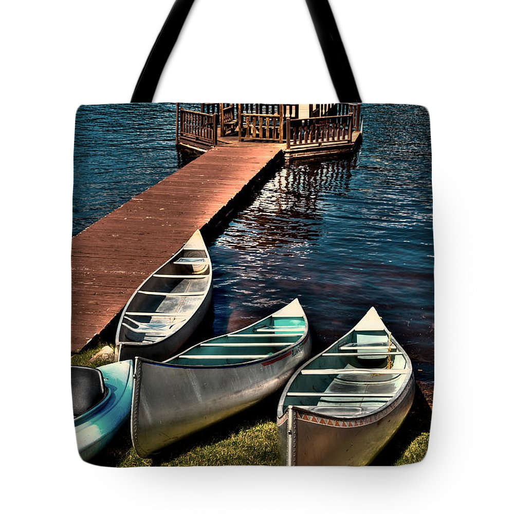 Big Moose Lake Tote Bag featuring the photograph The Canoes At Big Moose Inn by David Patterson