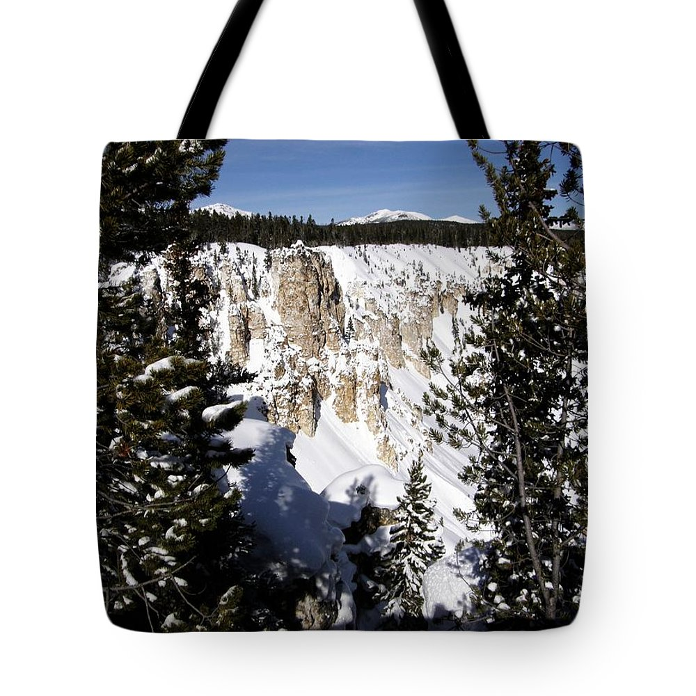 Yellowstone Tote Bag featuring the photograph The Canyon In Winter by Image Takers Photography LLC - Carol Haddon