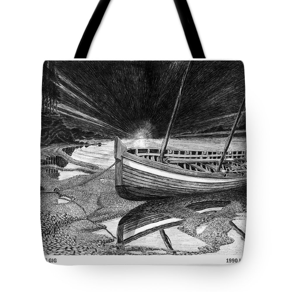 Artwork Of Yachts Tote Bag featuring the drawing Captain Vancouvers Gig by Jack Pumphrey