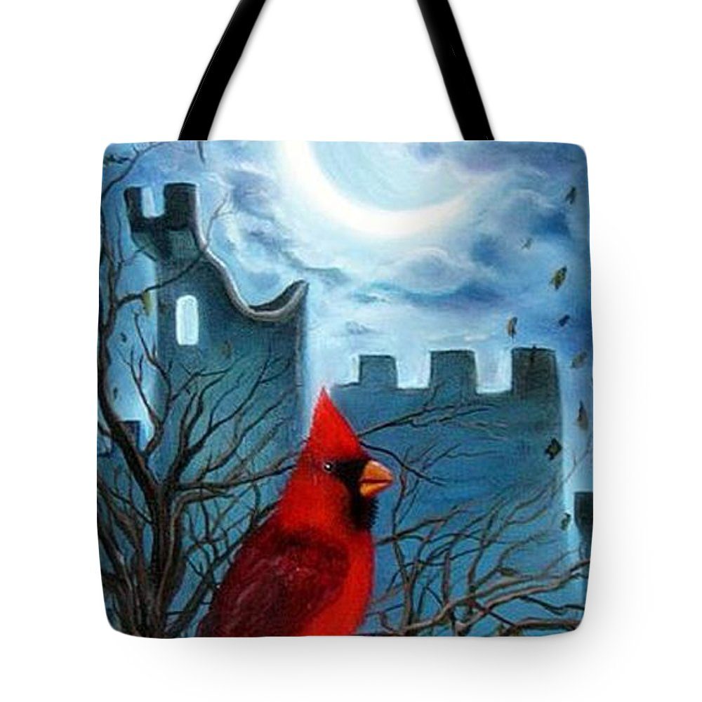 Cardinal Tote Bag featuring the painting The Cardinal by Lora Duguay