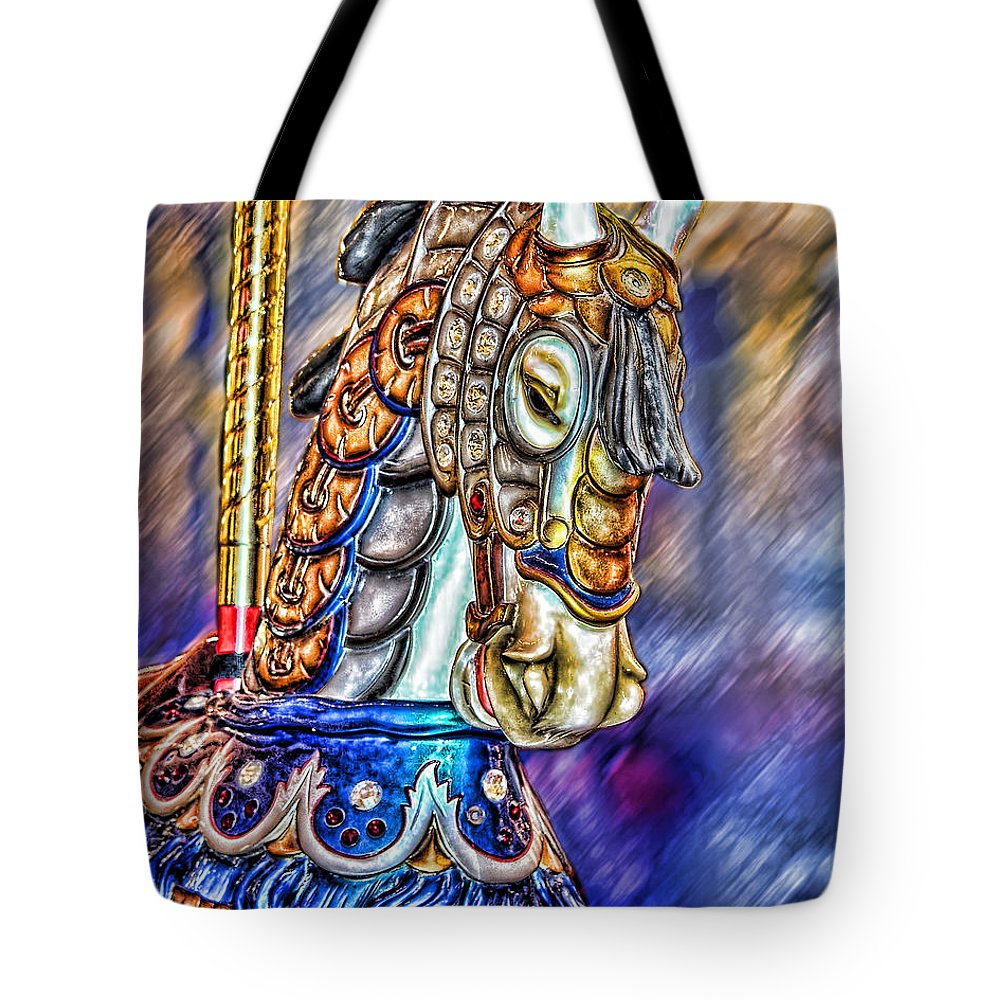 Amusement Tote Bag featuring the painting The Carousel Horse by Mary Almond