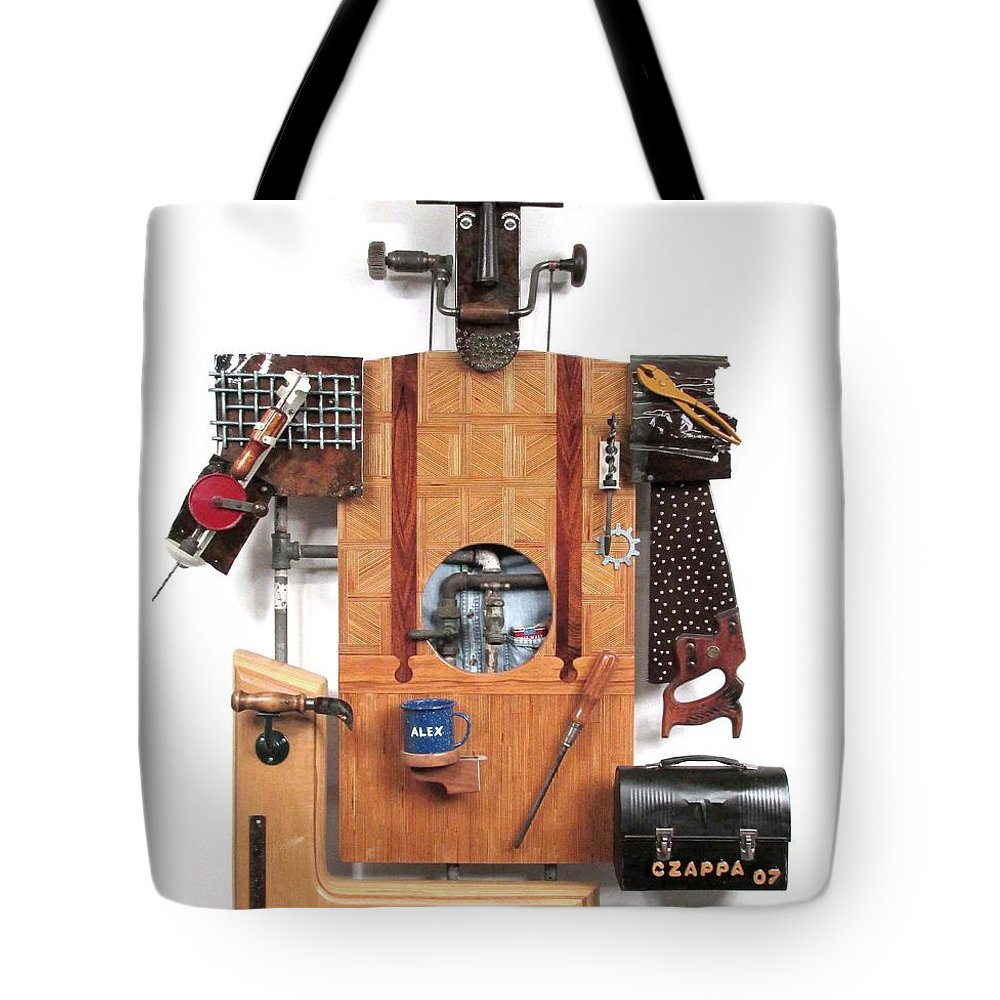 Czappa Tote Bag featuring the sculpture The Carpenter  #16 by Bill Czappa