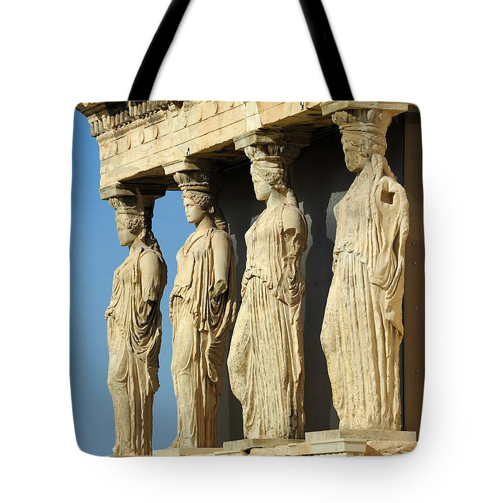 Caryatid Tote Bag featuring the photograph The Caryatid Porch by Grigorios Moraitis