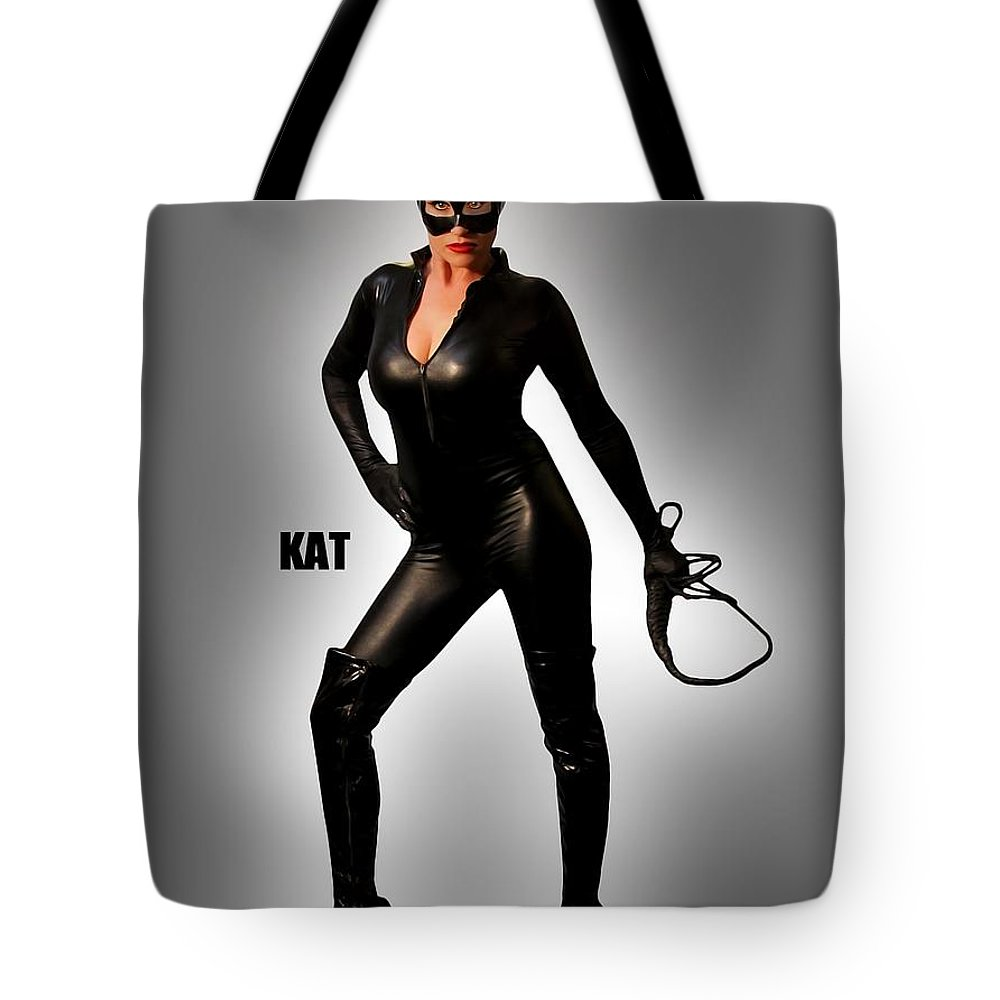 Cat Tote Bag featuring the photograph Kat Vgirl Pinup by Jon Volden