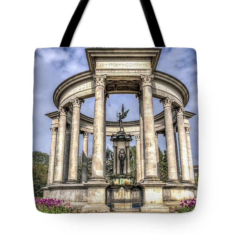 The Cenotaph Cardiff Tote Bag featuring the photograph The Cenotaph Cardiff by Steve Purnell