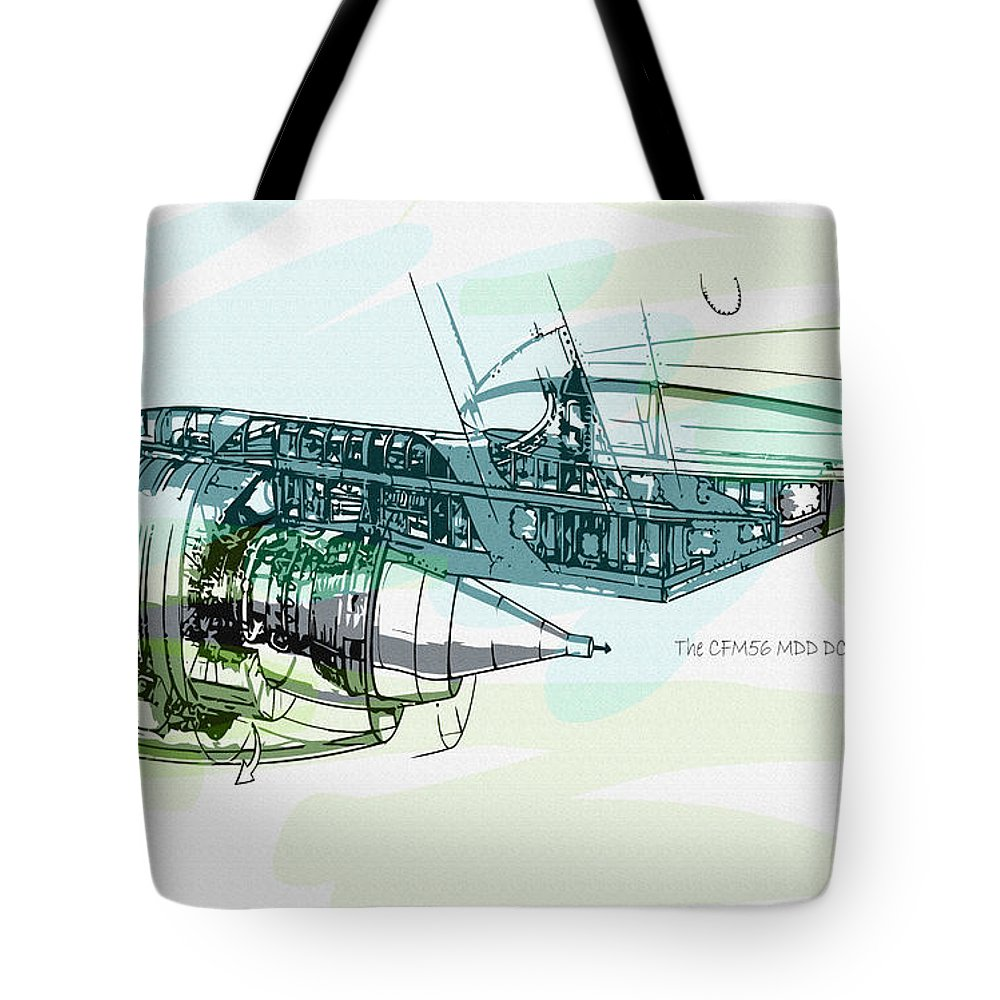 Decorative Tote Bag featuring the digital art The Cfm56 Mdd Dc8 Engine Detail by Don Kuing