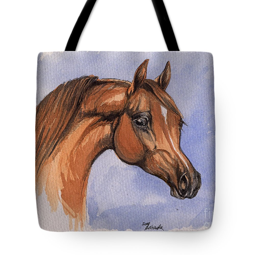 Horse Tote Bag featuring the painting The Chestnut Arabian Horse 1 by Angel Ciesniarska