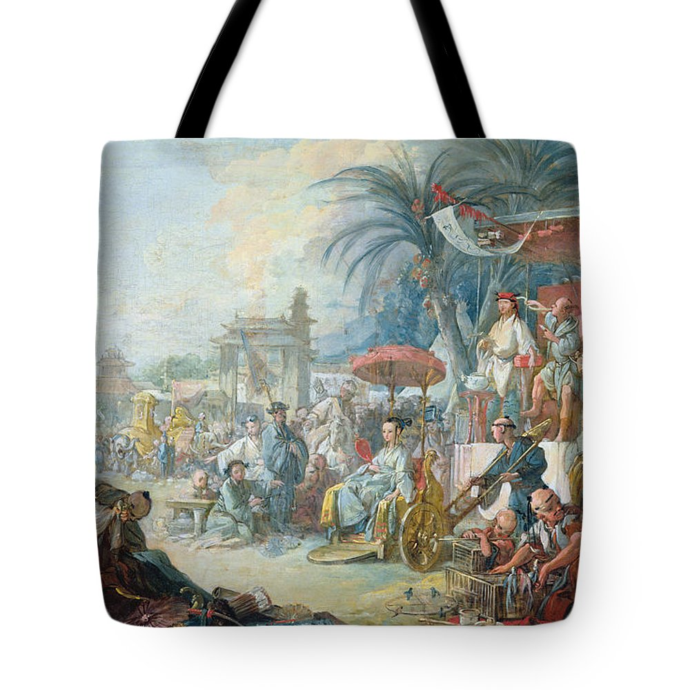 Birdcage Tote Bag featuring the photograph The Chinese Fair, C.1742 Oil On Canvas by Francois Boucher