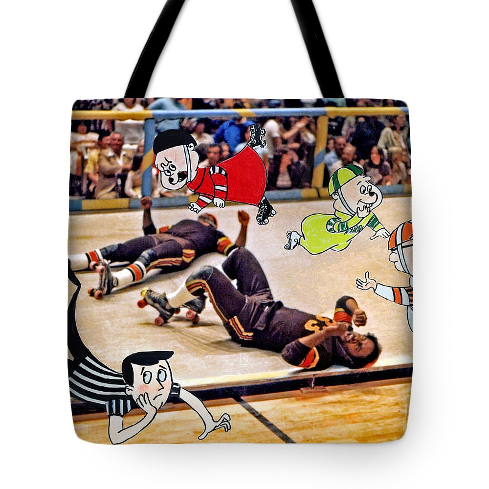 Colored Photography And Pastels Tote Bag featuring the photograph The Chipmunks Skating Roller Derby by Jim Fitzpatrick