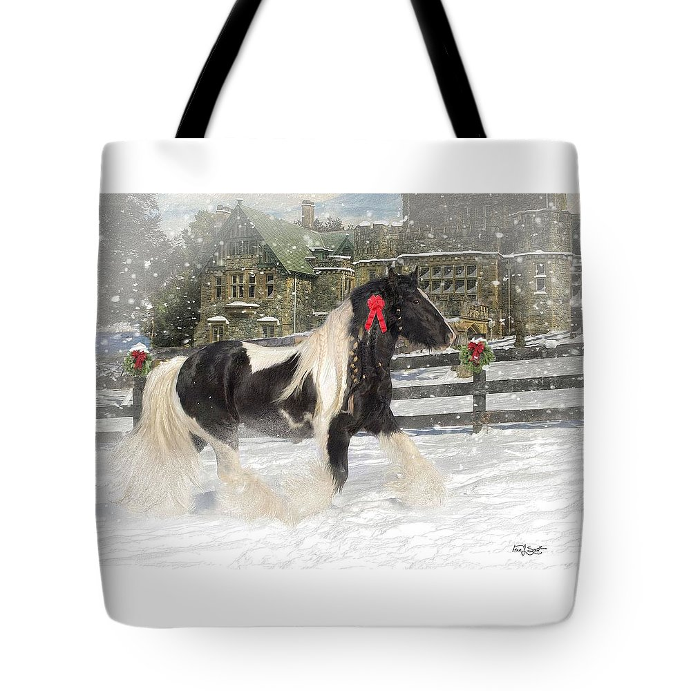 Christmas Tote Bag featuring the mixed media The Christmas Pony by Fran J Scott