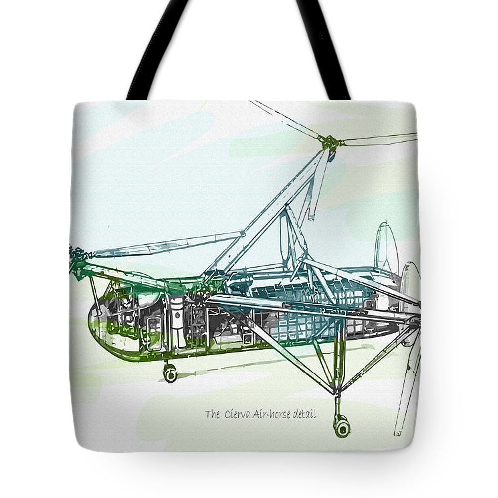 Decorative Tote Bag featuring the digital art The Cierva Air-horse Detail by Don Kuing