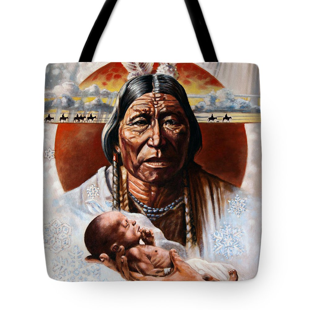 American Native Tote Bag featuring the painting The Circle Of Life by John Lautermilch