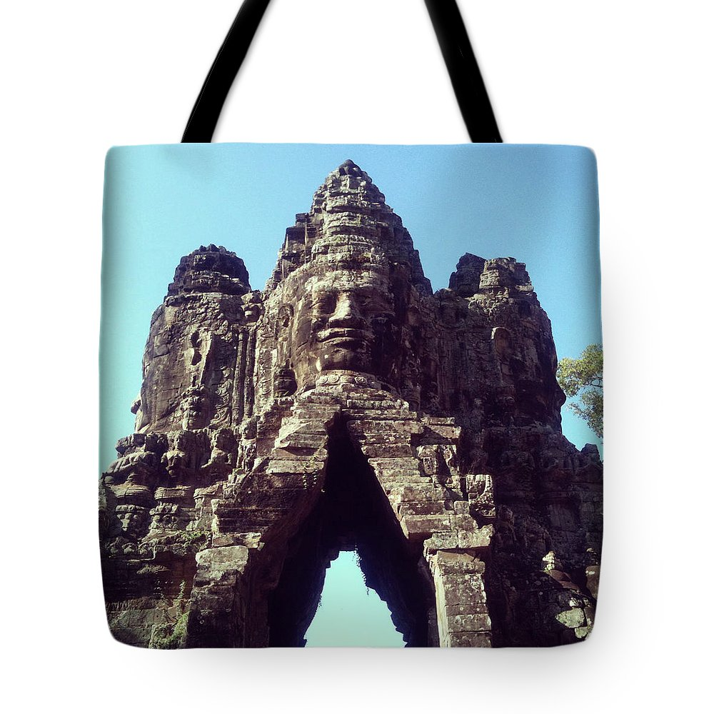 Arch Tote Bag featuring the photograph The City Gates At Angkor by Lasse Kristensen