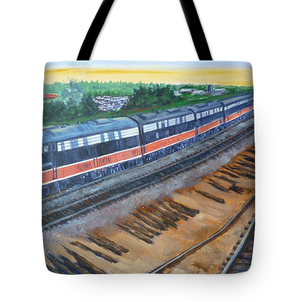 Train Tote Bag featuring the painting The City Of New Orleans by Bryan Bustard