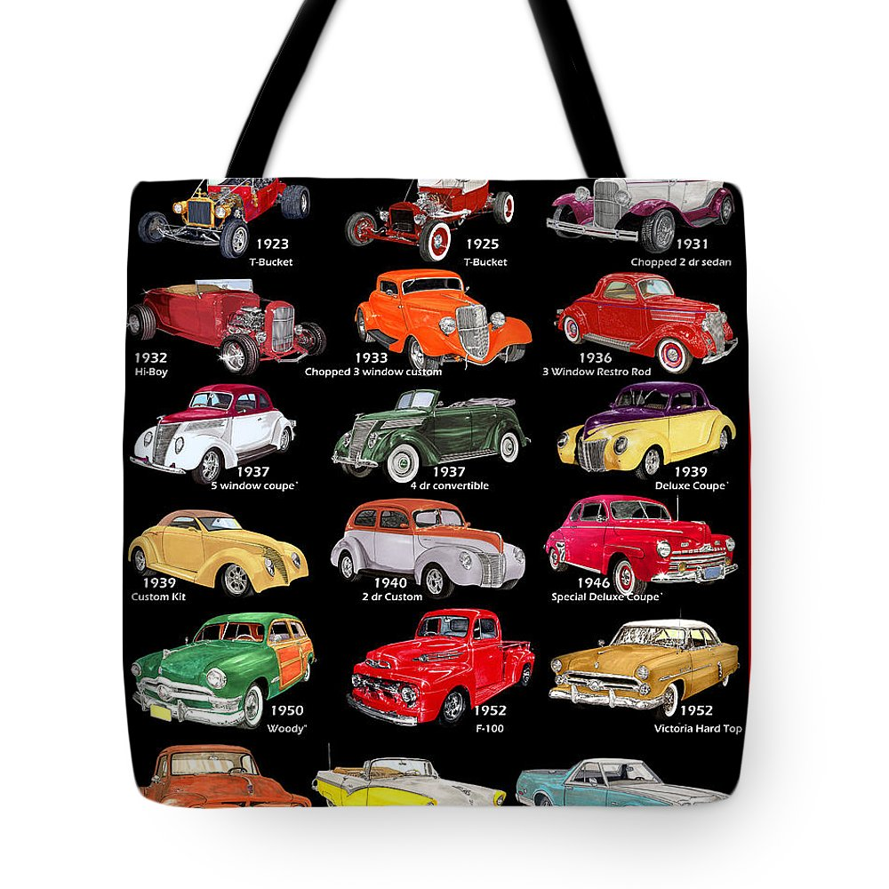 Red Tote Bag featuring the mixed media Ford Poster Art by Jack Pumphrey