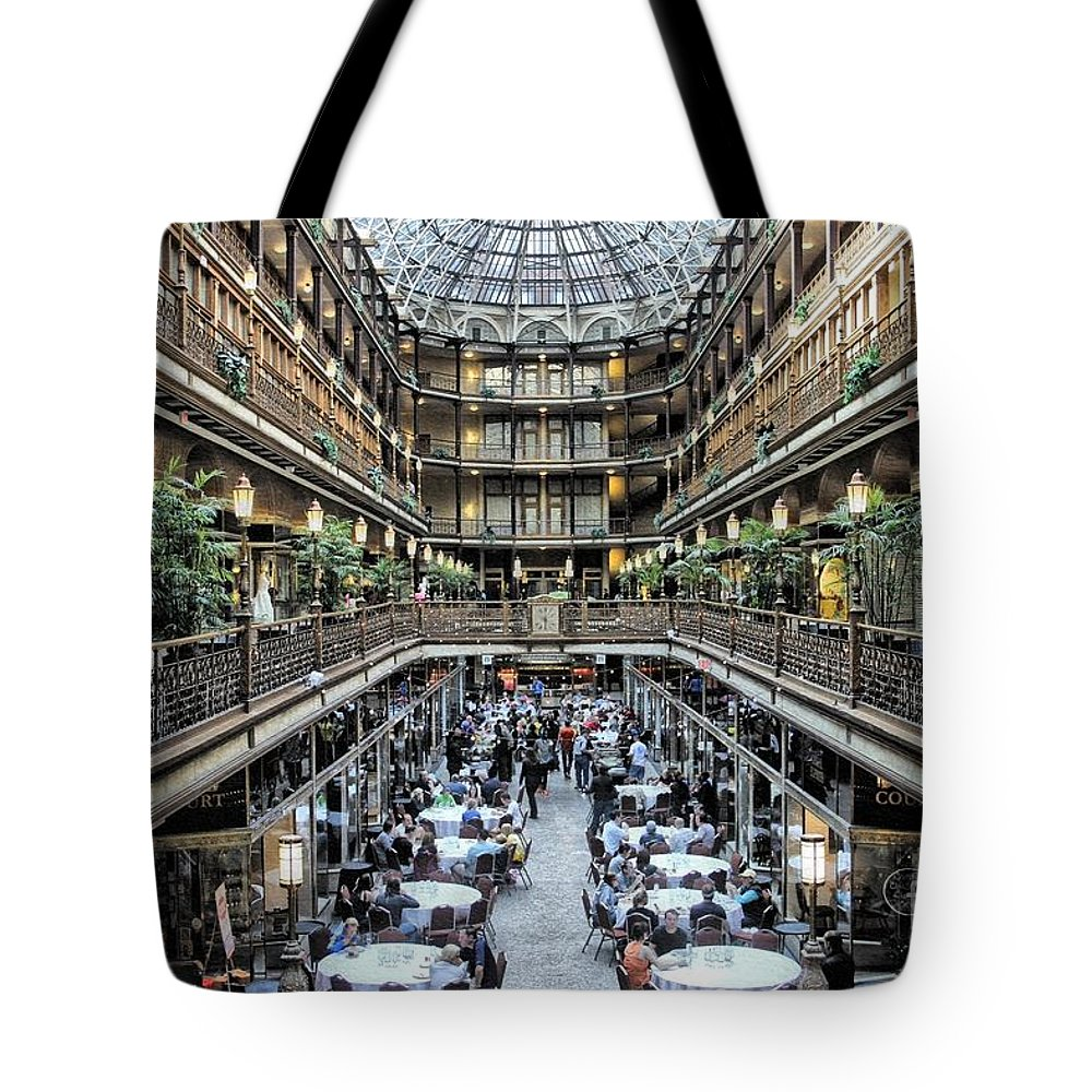 Cleveland Arcade Tote Bag featuring the photograph The Cleveland Arcade by The Art of Alice Terrill