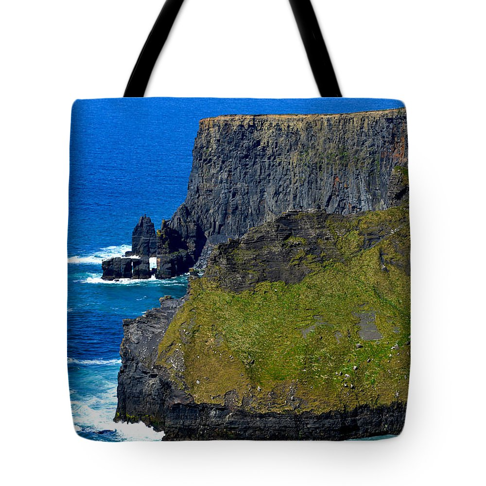 Ireland Tote Bag featuring the photograph The Cliffs Of Moher In Ireland by Marilyn Burton