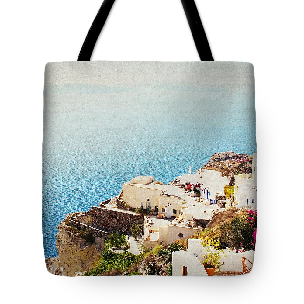 Santorini Tote Bag featuring the photograph The Cliffside - Santorini by Lisa Parrish