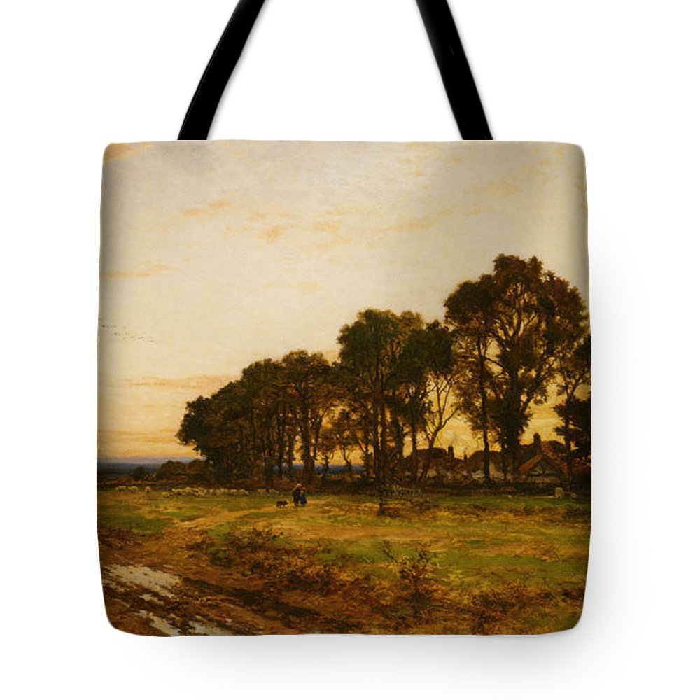 Benjamin Williams Leader Tote Bag featuring the digital art The Close Of Day Worvestershire Meadows by Benjamin Williams Leader