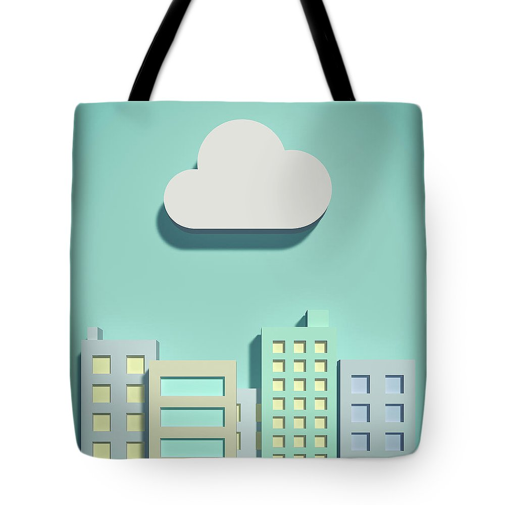 White Background Tote Bag featuring the digital art The Cloud Network And Office Buildings by Yagi Studio