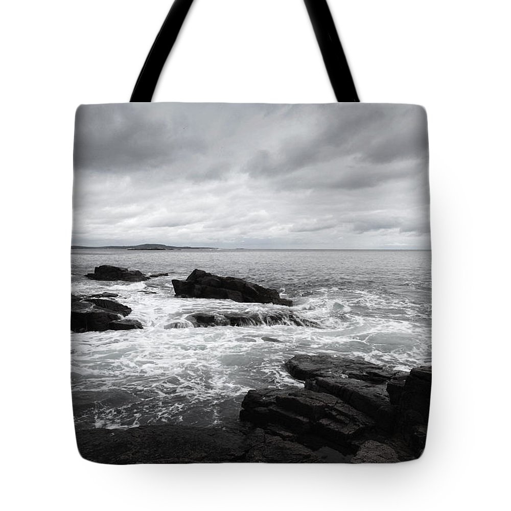 Cloud Tote Bag featuring the painting The Cloudy Day In Acadia National Park Maine by Paul Ge