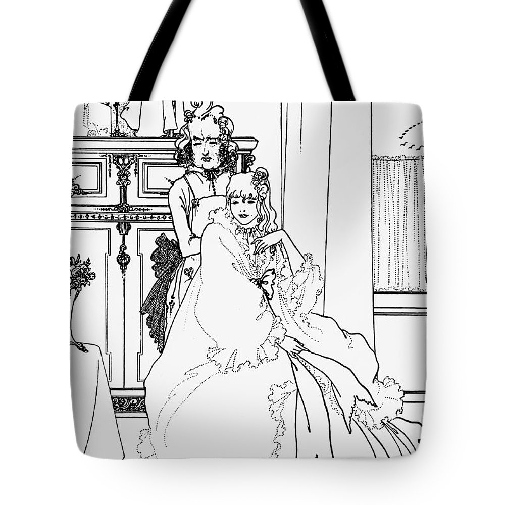 Aubrey Tote Bag featuring the drawing The Coiffing by Aubrey Beardsley