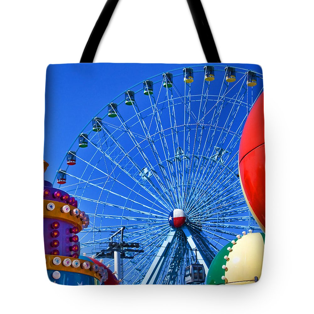Carnival Tote Bag featuring the photograph The Colors Of The State Fair Of Texas by David and Carol Kelly