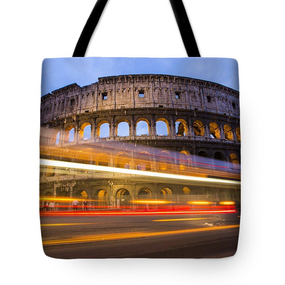 Flavian Tote Bag featuring the photograph The Colosseum-blue Hour by Mircea Costina Photography