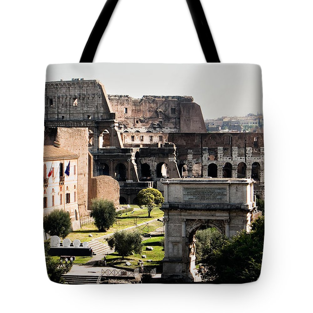 Rome Tote Bag featuring the photograph The Colosseum Through The Forum by Weston Westmoreland