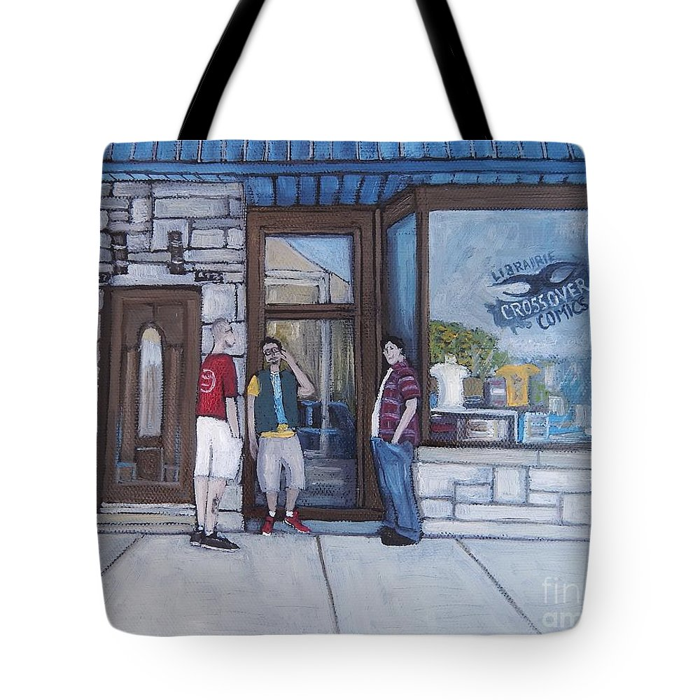 Notre Dame Street Tote Bag featuring the painting The Comic Book Shop by Reb Frost