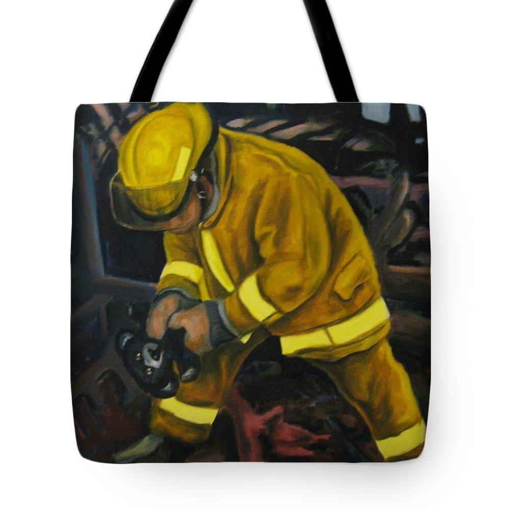 The Compulsion Towards Heroism Tote Bag featuring the painting The Compulsion Towards Heroism by John Malone