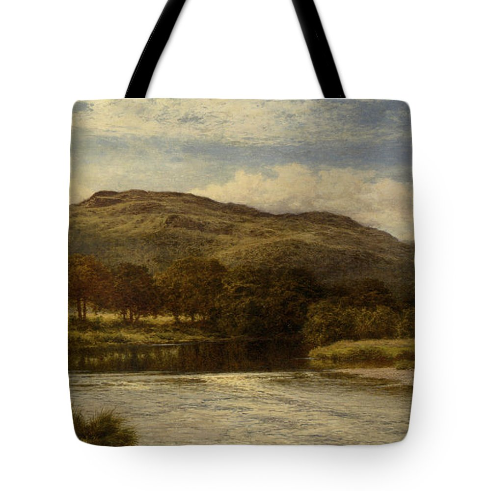 Benjamin Williams Leader Tote Bag featuring the digital art The Conway Near Bettws Y Coed by Benjamin Williams Leader