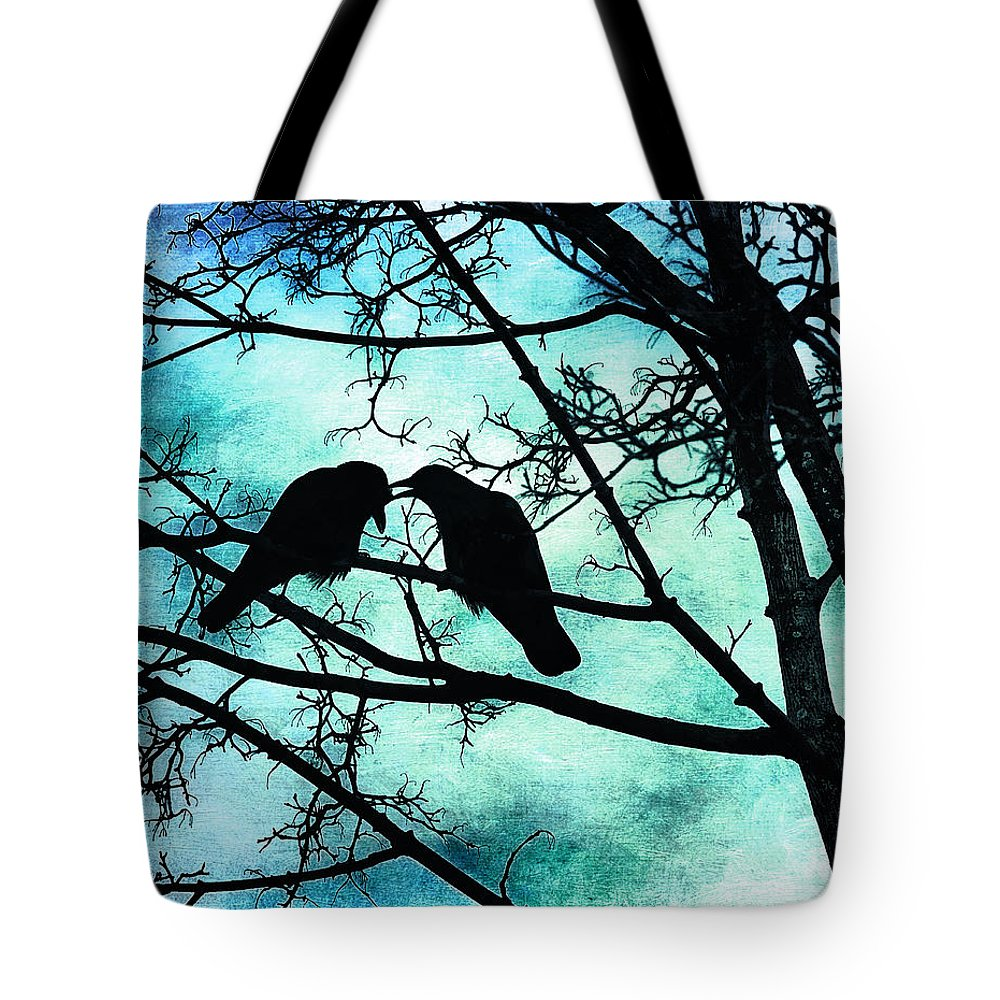 Crows Tote Bag featuring the photograph The Courtship Of Crows by Tammy Wetzel