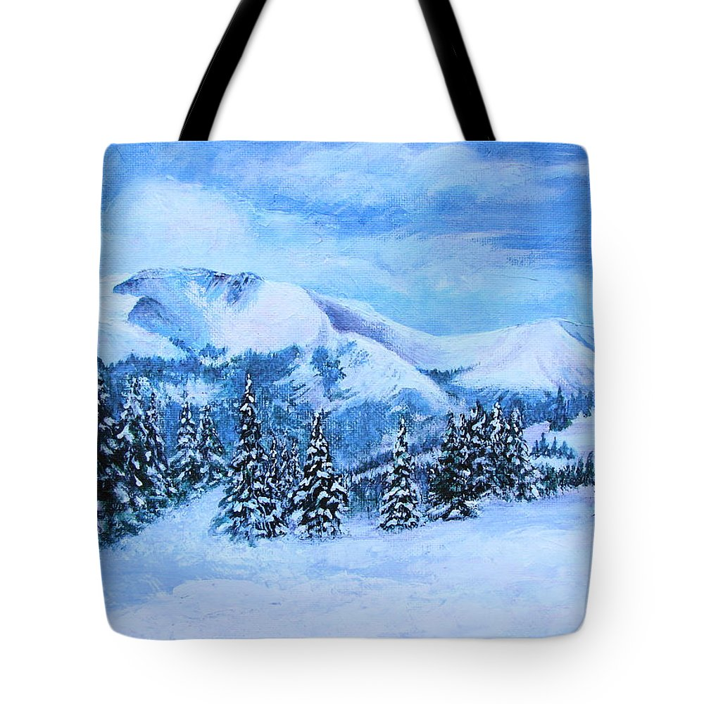 Cold Air Tote Bag featuring the painting The Covering by Margaret Bobb