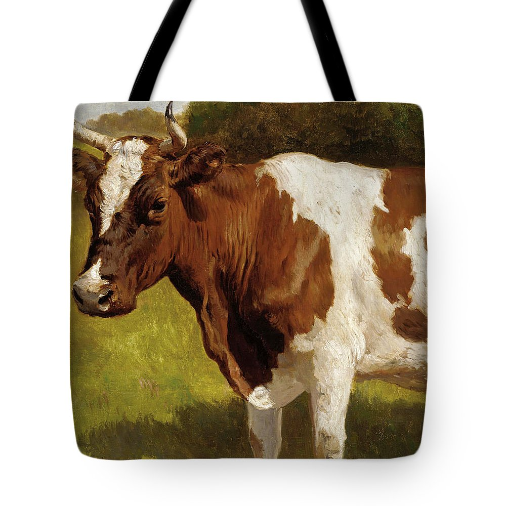 Otto Bache Tote Bag featuring the painting The Cow by Otto Bache