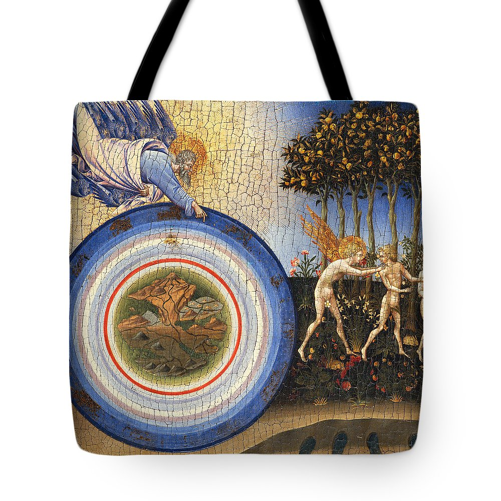 Religion Tote Bag featuring the painting The Creation Of The World And The Expulsion From Paradise by Giovanni Di Paolo