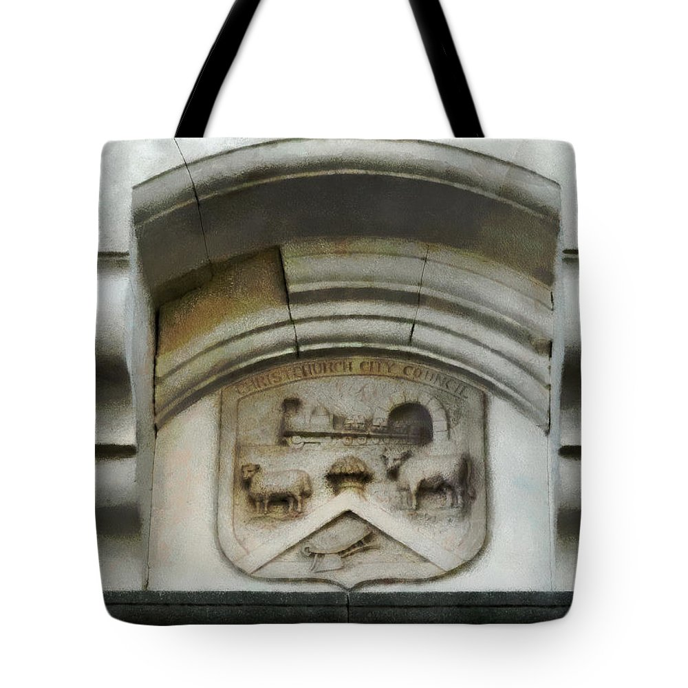 Canterbury Tote Bag featuring the photograph The Crest Of The Christchurch City Council by Steve Taylor