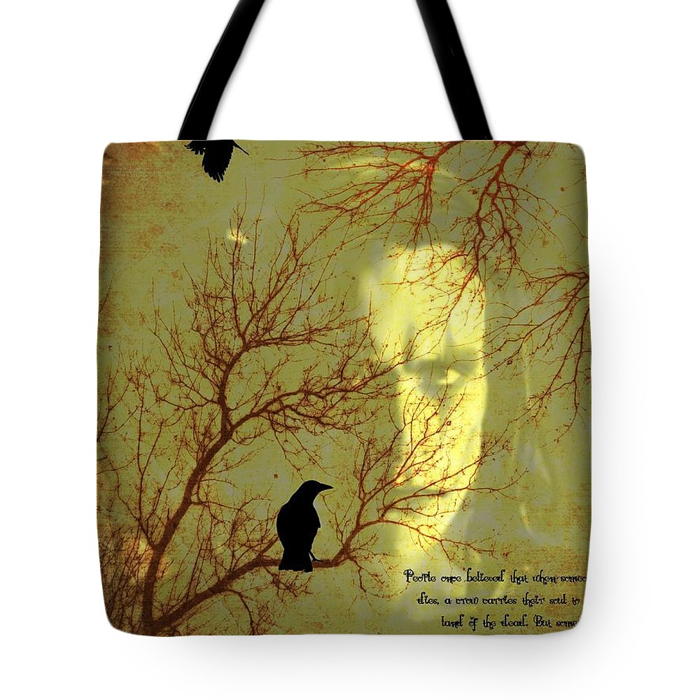 Nevermore Tote Bag featuring the mixed media The Crow by Dan Sproul