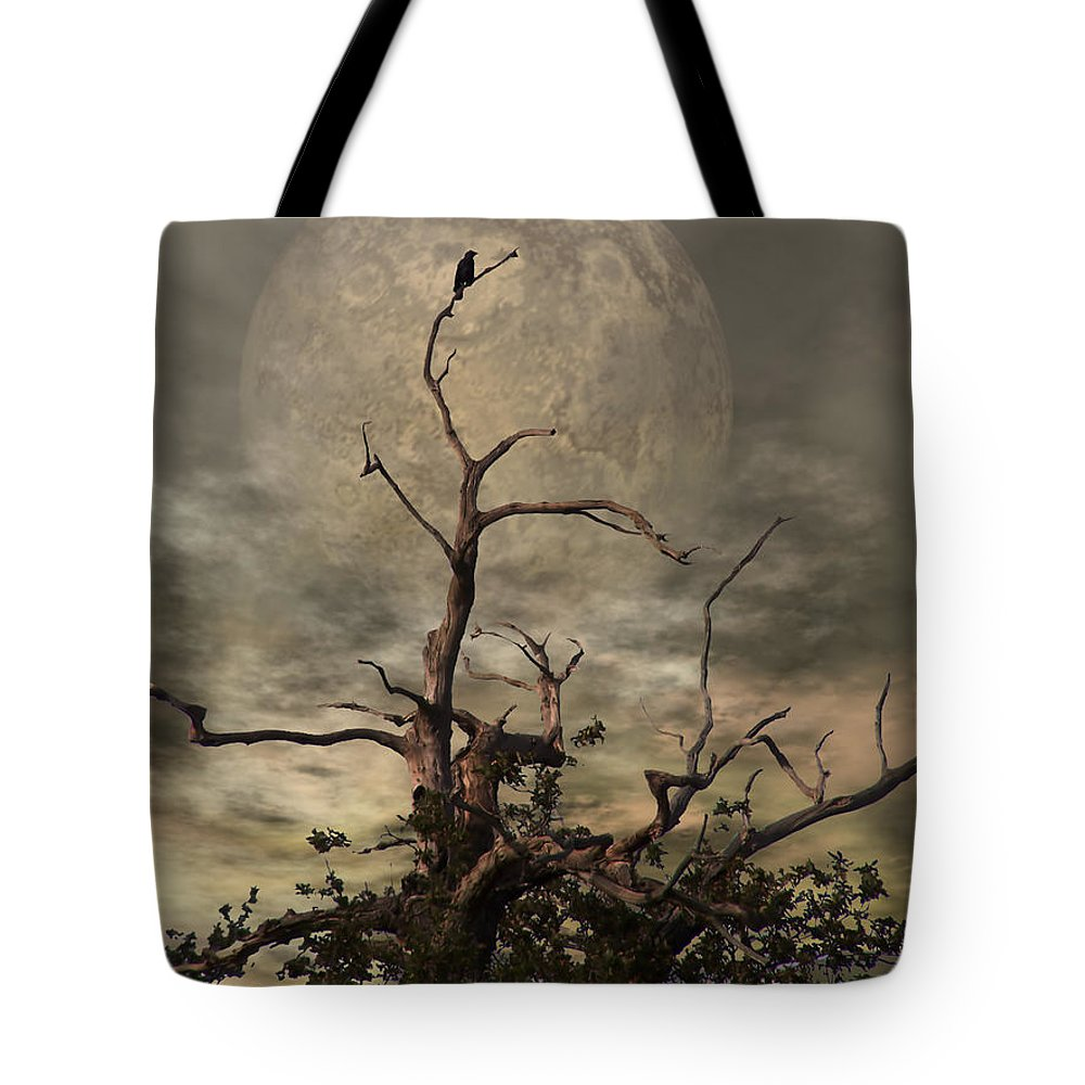 Crow Tote Bag featuring the digital art The Crow Tree by Abbie Shores