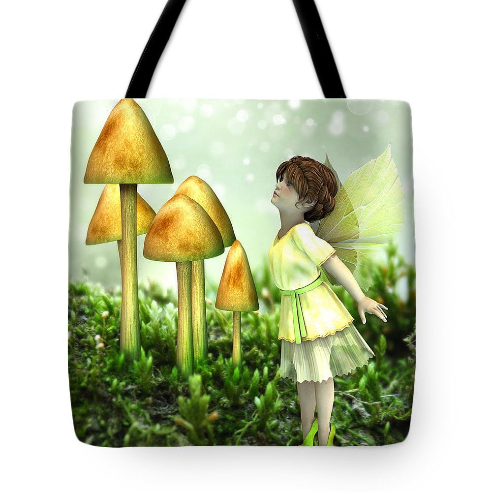 Vintage Tote Bag featuring the digital art The Curious Fairy by Jayne Wilson